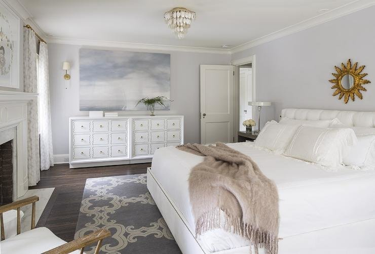 Best White And Gray Bedroom With Gold Sunburst Mirror With Pictures