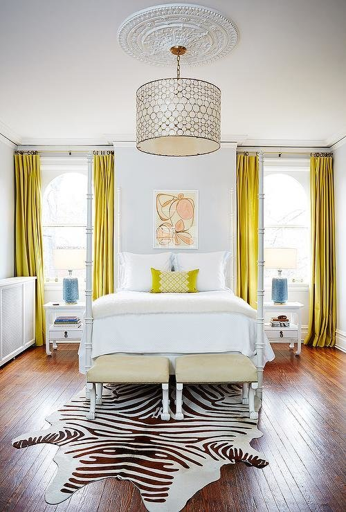 Best White Bedroom With Canary Yellow Curtains Contemporary Bedroom With Pictures