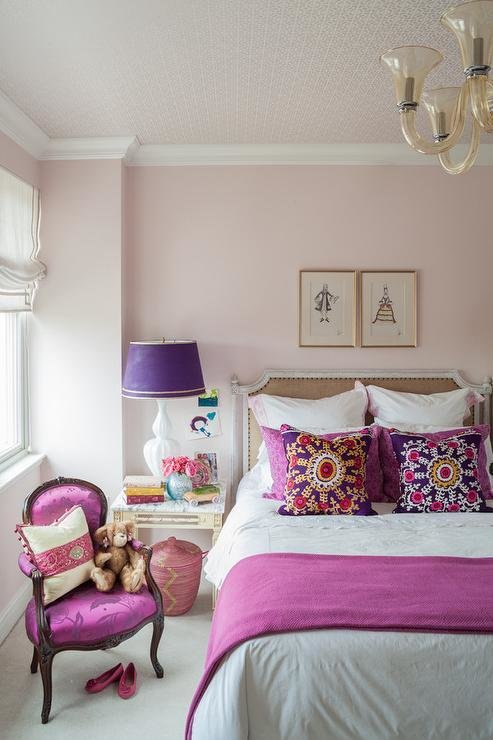 Best Pink And Purple Girls Room With French Burlap Nailhead Bed With Pictures