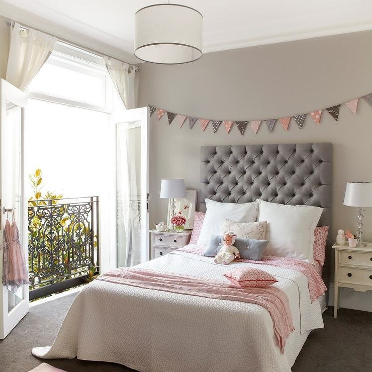 Best Pink And Gray Girls Bedroom With Banner Over Bed With Pictures