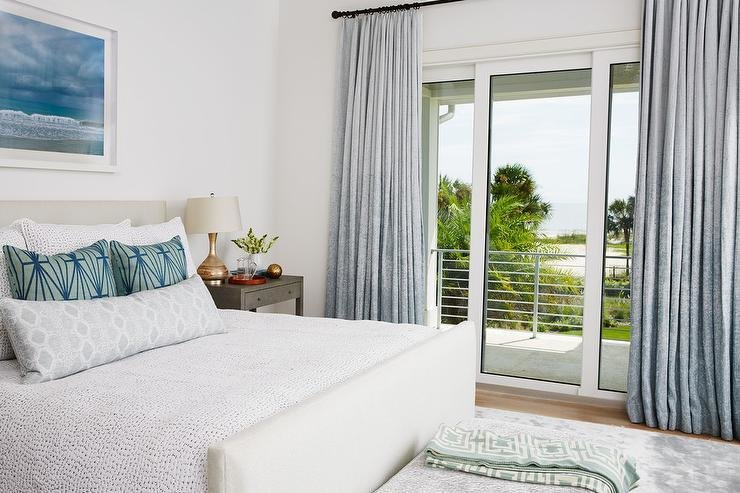 Best White And Blue Bedroom With Gray Nightstands Transitional Bedroom With Pictures