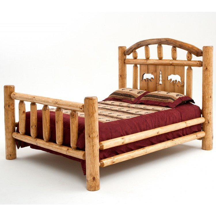 Best Rustic Black Bear Silhouette Pine Log Bed With Pictures