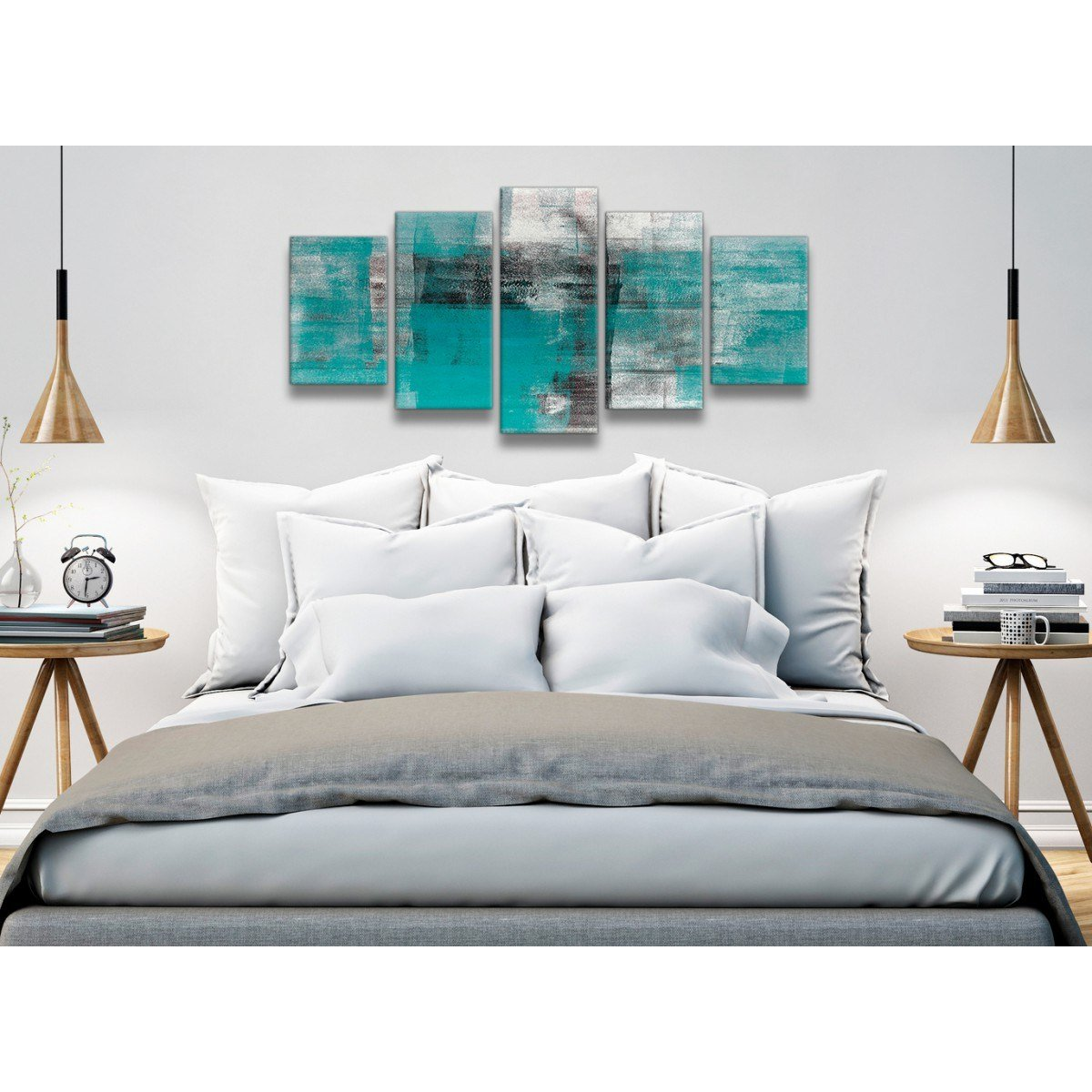Best 5 Part Teal Black White Painting Abstract Office Canvas With Pictures