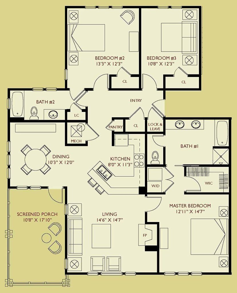 Best Condo D303 Floor Plan 3 Bedroom 2 Bath Third Floor With Pictures