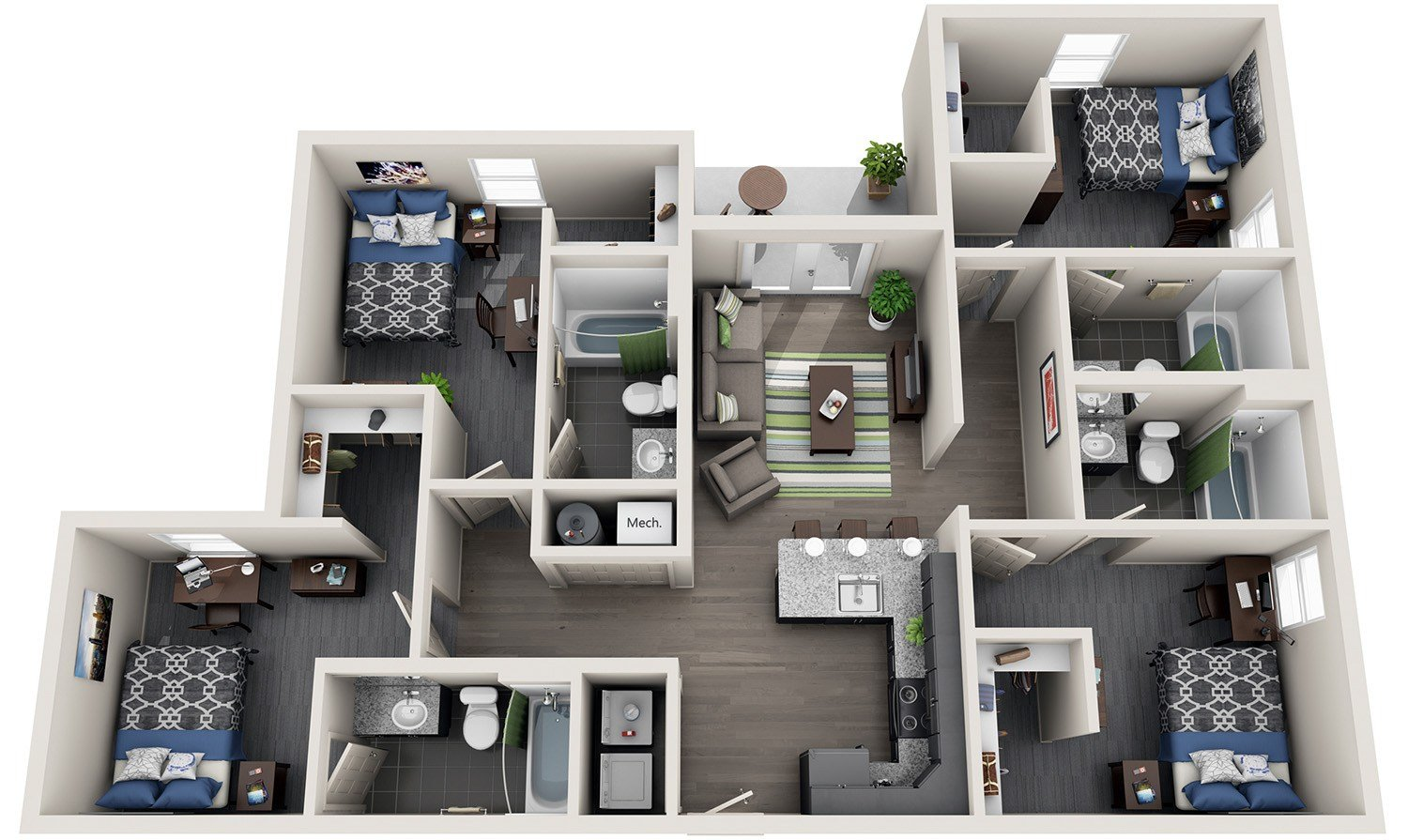 Best 4 Bedroom Student Housing Off Campus Apartment With Pictures