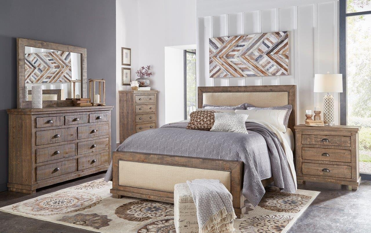 Best Pine Gray Casual Rustic 6 Piece King Bedroom Set Willow Rc Willey Furniture Store With Pictures