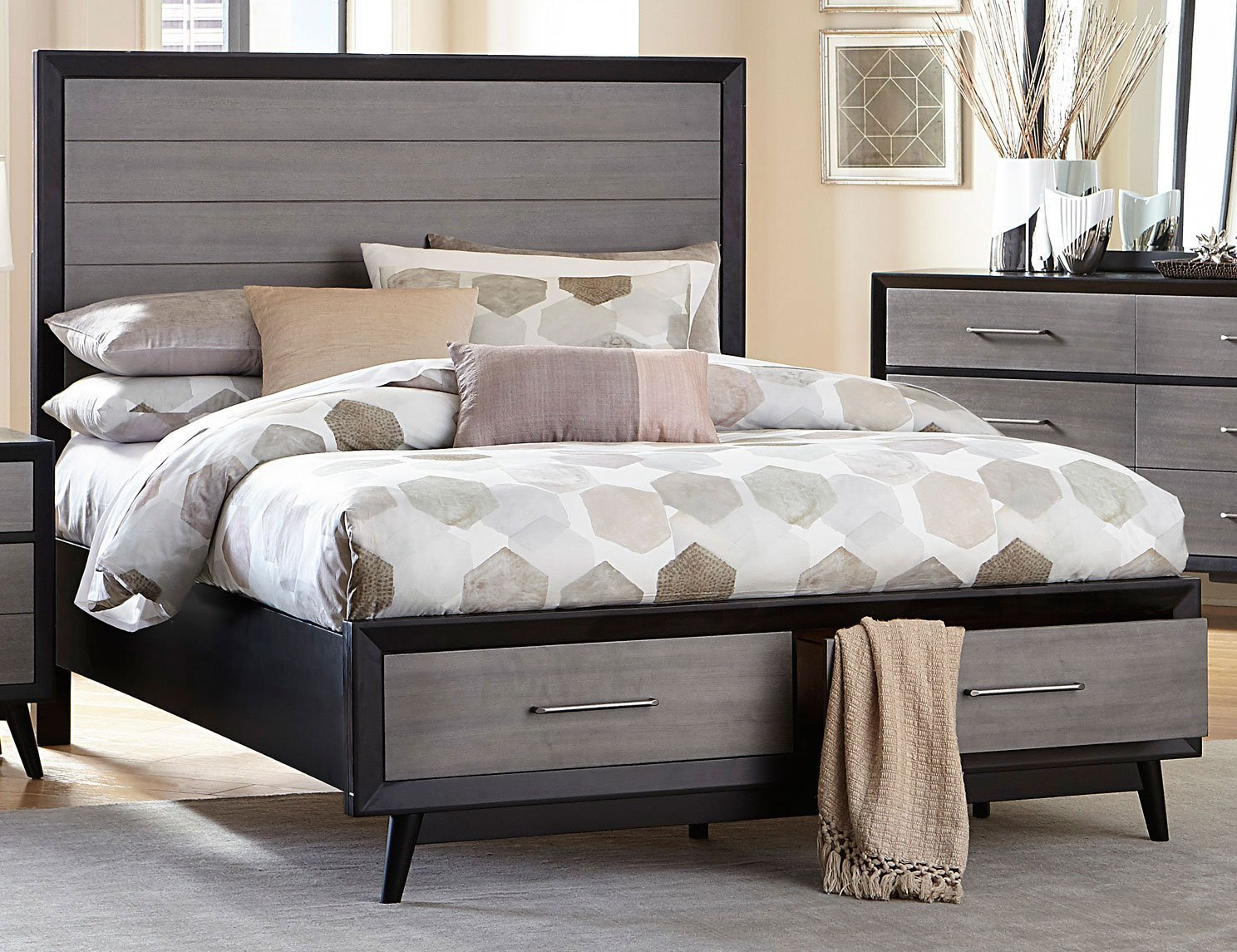 Best Contemporary Gray Black 6 Piece King Bedroom Set Raku With Pictures
