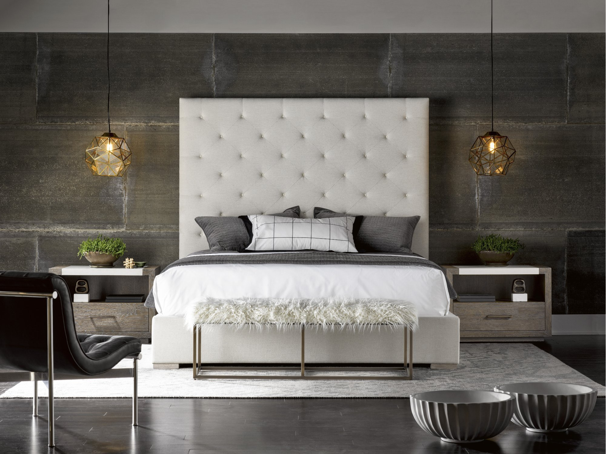 Best Off White And Charcoal 9 Piece King Bedroom Set Modern With Pictures