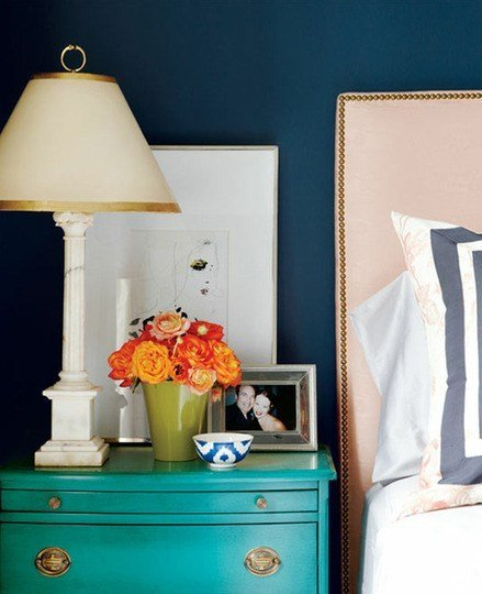Best Navy White Turquoise Nightstand Suits And Aprons With Pictures
