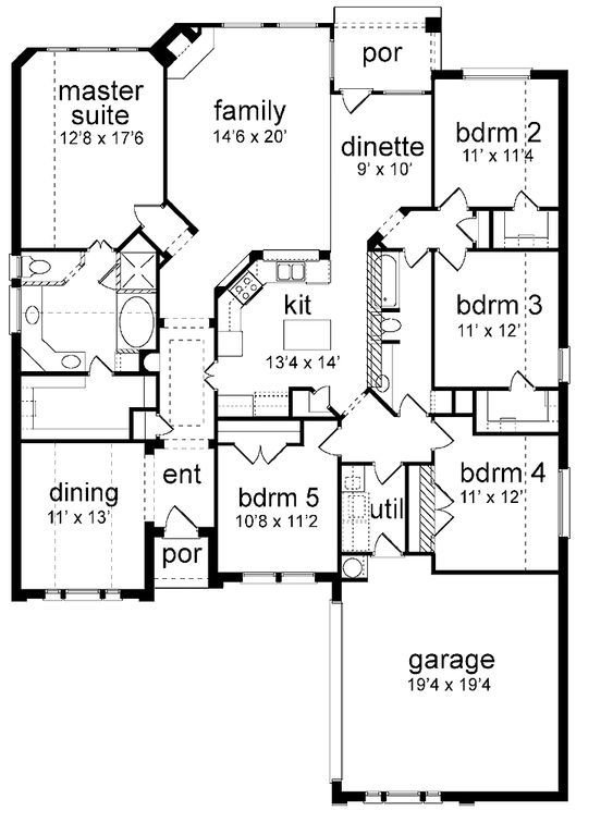 Best Floor Plan 5 Bedrooms Single Story Five Bedroom New With Pictures