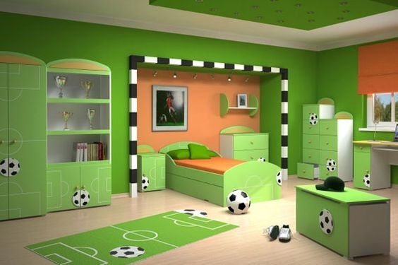 Best Sporty Theme In Green T**N Bedroom If Only There Wasn T With Pictures