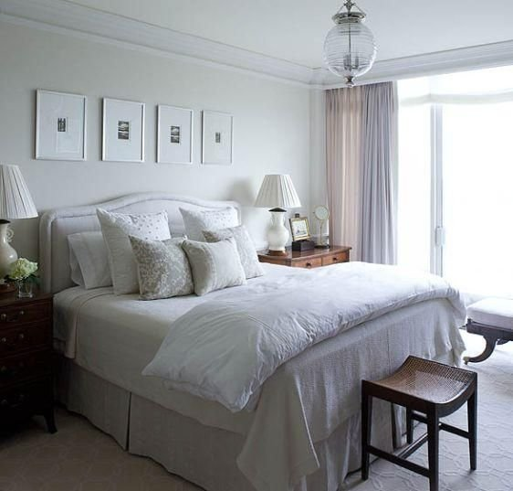 Best Soft Tranquil Bedroom Design With Off White Gray Headboard With Pictures