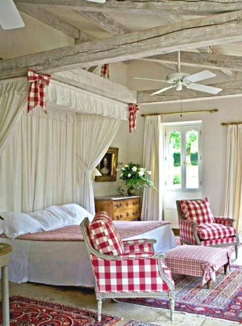 Best Cottage Décor Red Cream Bedroom Country Pinterest With Pictures