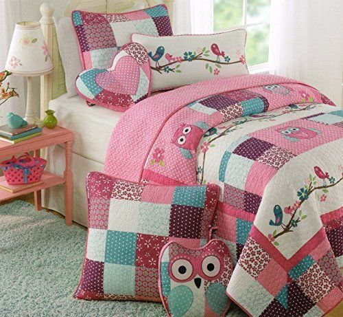 Best Toddler Bedding Set Owl Birds 3Pc Quilt Set Turquoise Purple Pink Cotton Embroider Girl Bedding With Pictures