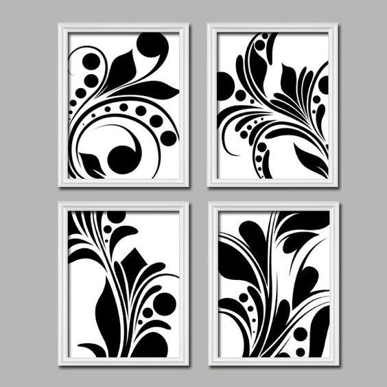 Best Bold Swirl Black White Flourish Design Set Of 4 Abstract With Pictures