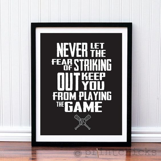 Best Baseball Print Custom Baseball Quote Poster Boys Room With Pictures