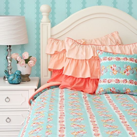 Best Coral Teal Bedding Google Search Raelyn S Room Pinterest Ruffles Ruffle Pillow And With Pictures