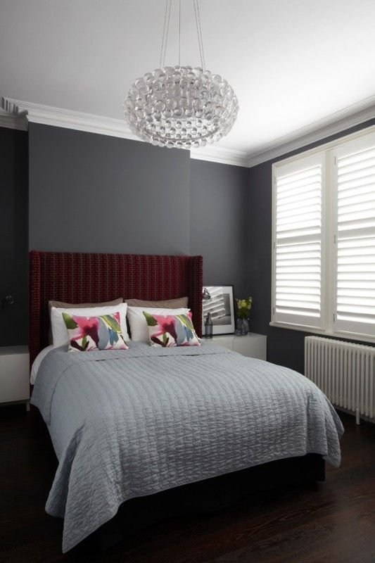 Best Bedroom Maroon Headboard And Luxurious Crystal Pendant With Pictures