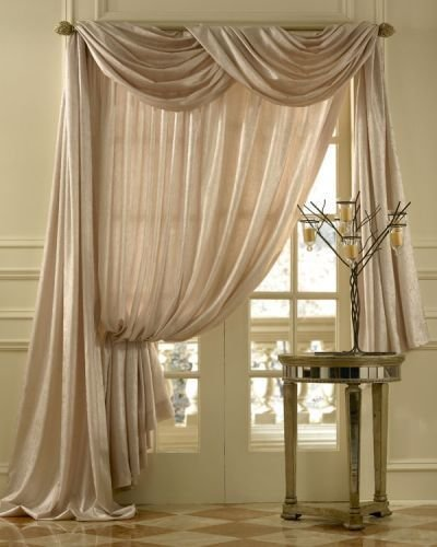 Best Geneva Scroll Linen Scarf Swag Window Topper With Pictures