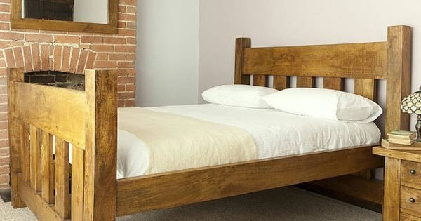 Best Handmade Chunky Solid Wood Plank Post Slatted Bed Frame In With Pictures