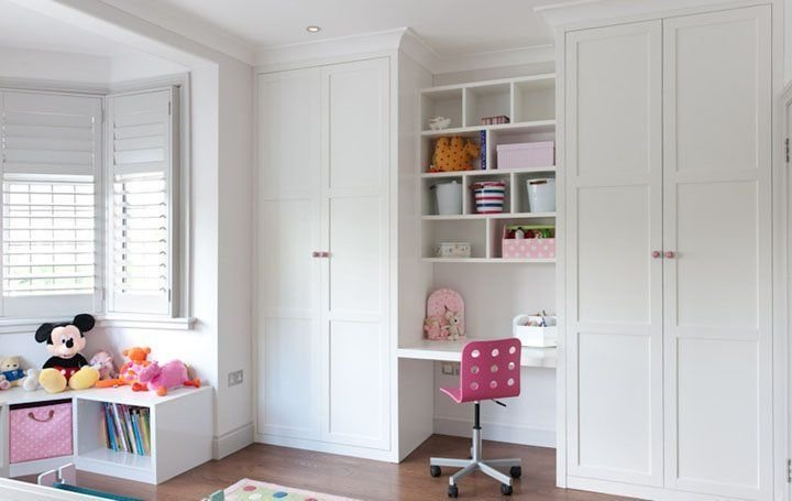Best Floor To Ceiling Fitted Wardrobes With Desk Area In White With Pictures