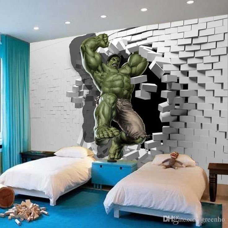 Best 3D Avengers Photo Wallpaper Custom Hulk Wallpaper Unique Design Bricks Wall Mural Art Room Decor With Pictures