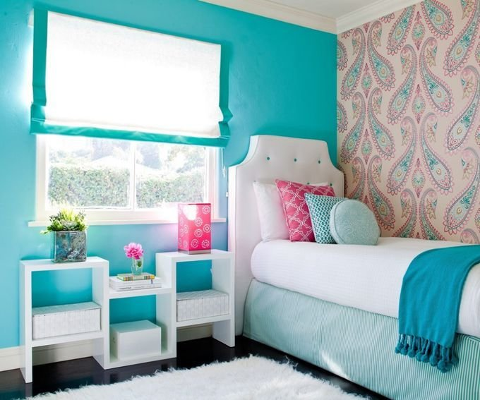 Best Girl Bedroom Teal Pink White Paisley Wall Paper This Is The Cutest Room Elinore Likes This With Pictures