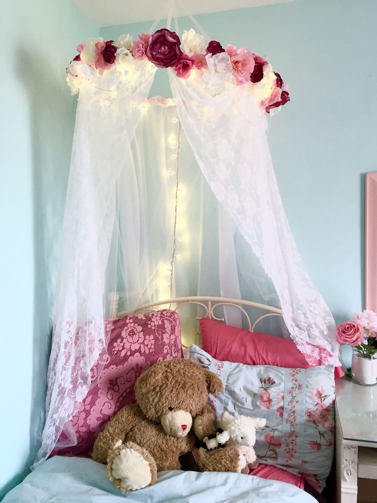 Best Pink And Blue Girl S Room With Canopy And Tree Mural Tiny With Pictures