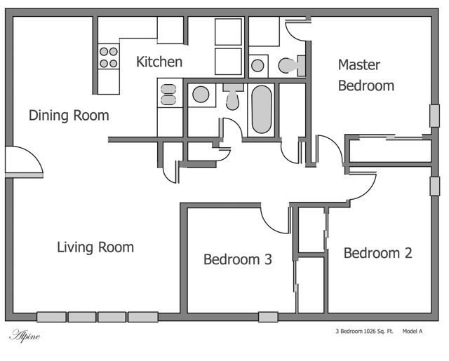 Best Plain 3 Bedroom Apartment Floor Plans On Apartments With With Pictures
