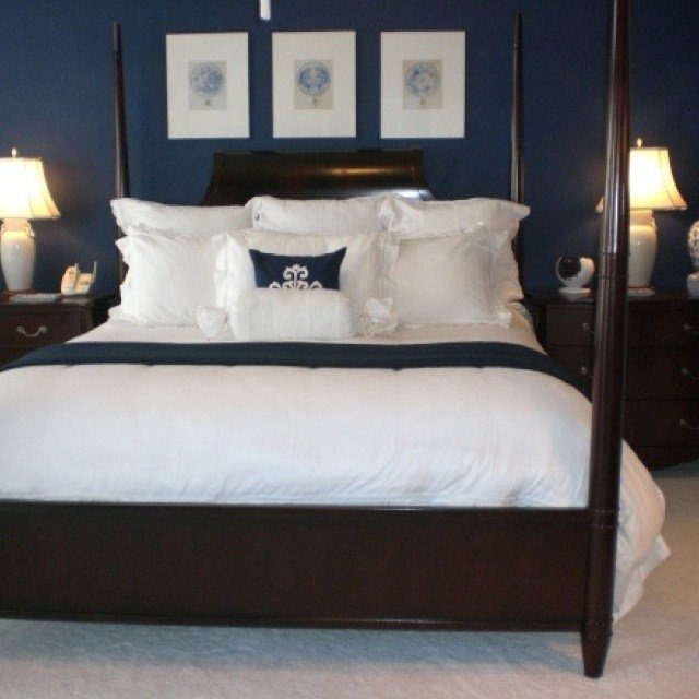 Best Navy Blue Bedroom Paint Color To Go Around The Beadboard With Pictures