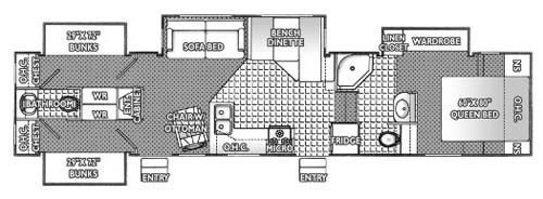 Best Rv 2 Bathroom Floor Plans 2005 Titanium 36E41 Fifth With Pictures