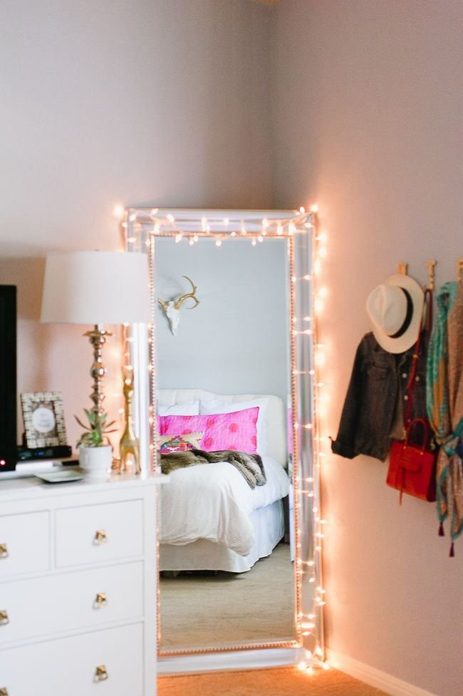 Best Twinkle Lights Around A Full Length Mirror Theeverygirl First Apartment Pinterest With Pictures
