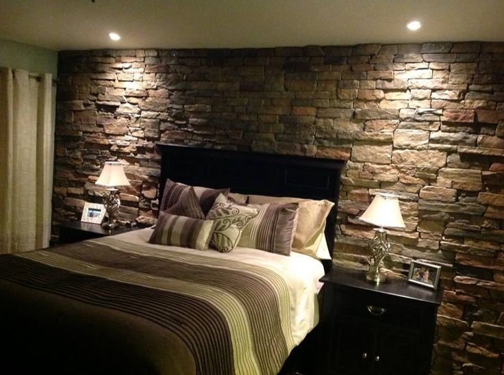 Best Rock Accent Wall In The Master Bedroom For The Home With Pictures
