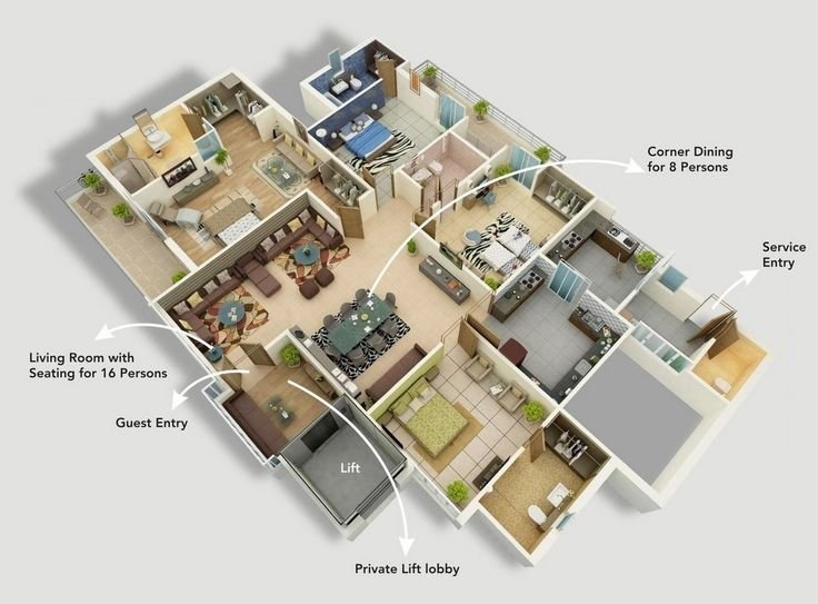 "Best 50 Four ""4"" Bedroom Apartment House Plans Bedroom With Pictures"