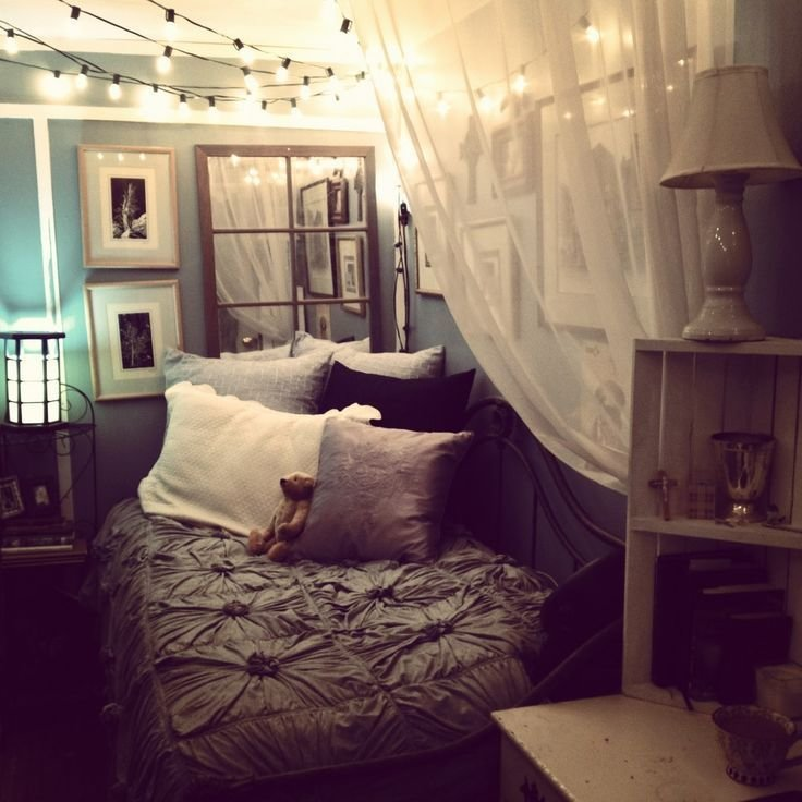 Best Cozying Up A Small Bedroom Via Tumblr Cute Ideas Pinterest Gray Bedding The Mirror With Pictures