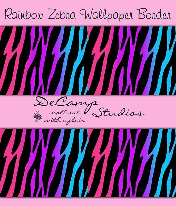 Best Rainbow Zebra Print Wallpaper Border Wall Decals For T**N With Pictures