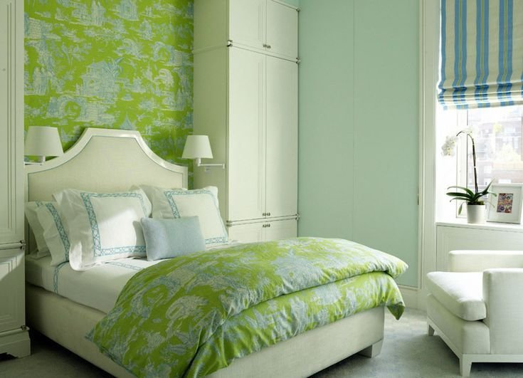 Best Turquoise And Bright Apple Green Toile Wallpaper And Bedding In A Traditional Bedroom I Like With Pictures