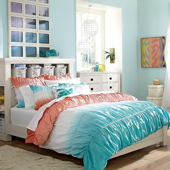 Best Dip Dye Ruched Duvet Cover Sham Coral Capri The With Pictures