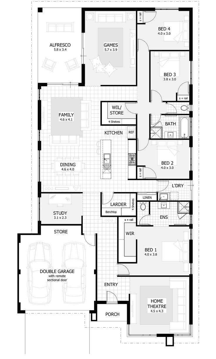 Best 25 Best Ideas About 4 Bedroom House On Pinterest 4 Bedroom House Plans Blue Open Plan With Pictures