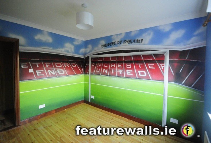 Best Hand Painted Manchester United Old Trafford Kids Room Mural By Featurewalls Ie Murals By With Pictures