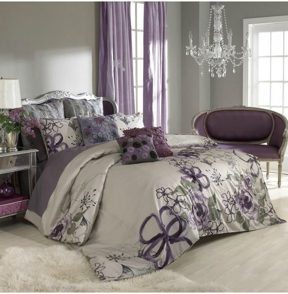 Best Sage Wall Color Purple Curtains Bedspread Bedroom With Pictures