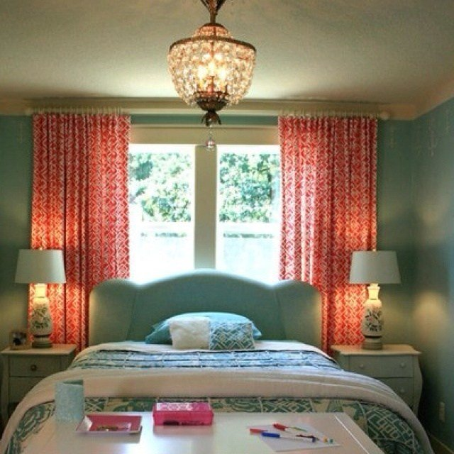 Best Teal And Coral Love The Curtains Possible Bedroom With Pictures