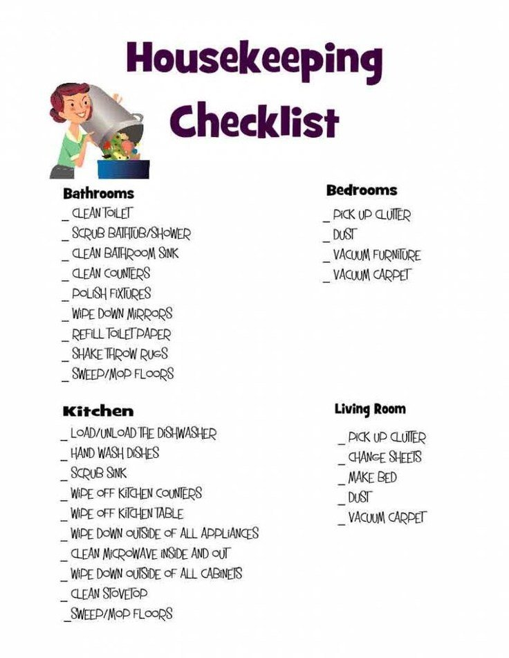 Best Housekeeping Checklist Cleaning Organize And Organizations With Pictures