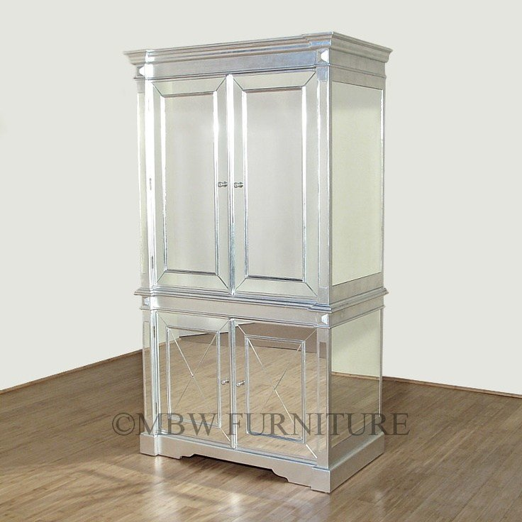 Best Silver Art Deco Mirrored Armoire Wardrobe Home Decor With Pictures