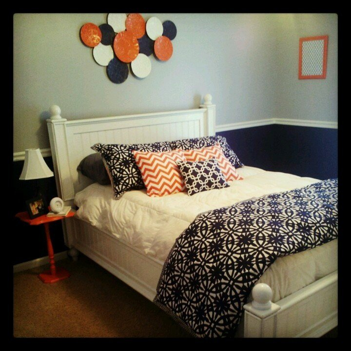 Best Navy Blue Coral And Gray Bedroom Decor Bedroom With Pictures