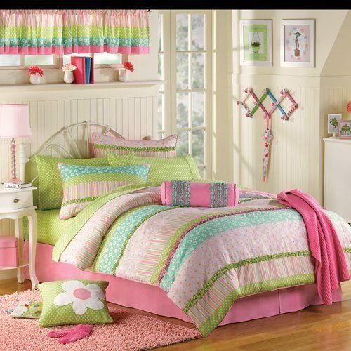 Best Pink Green Ruffled Girls Twin Complete Comforter Set 10 With Pictures