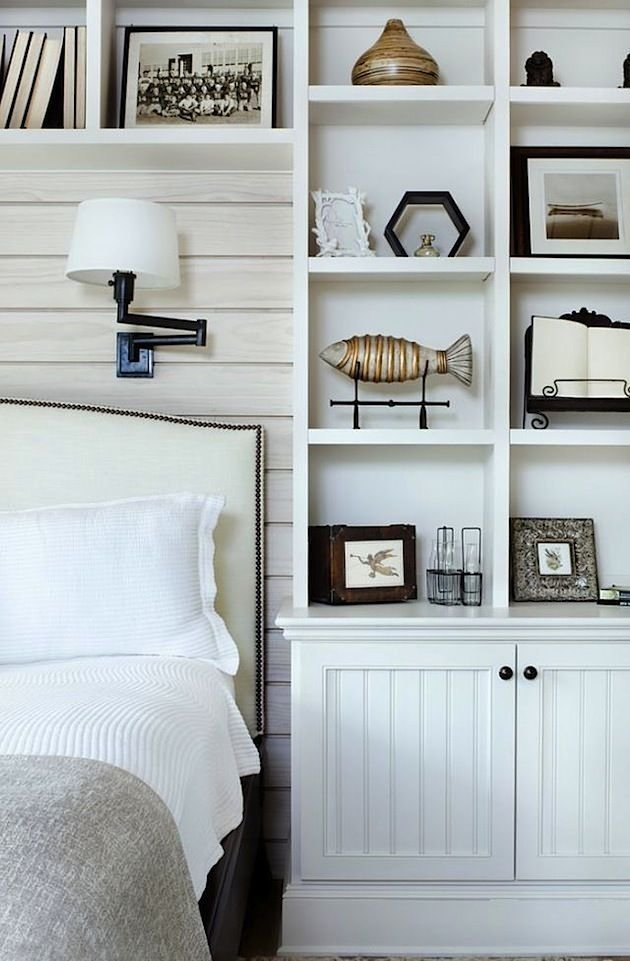 Best Upholstered Headboard Sconces Shelf Styling Plank Wall With Pictures