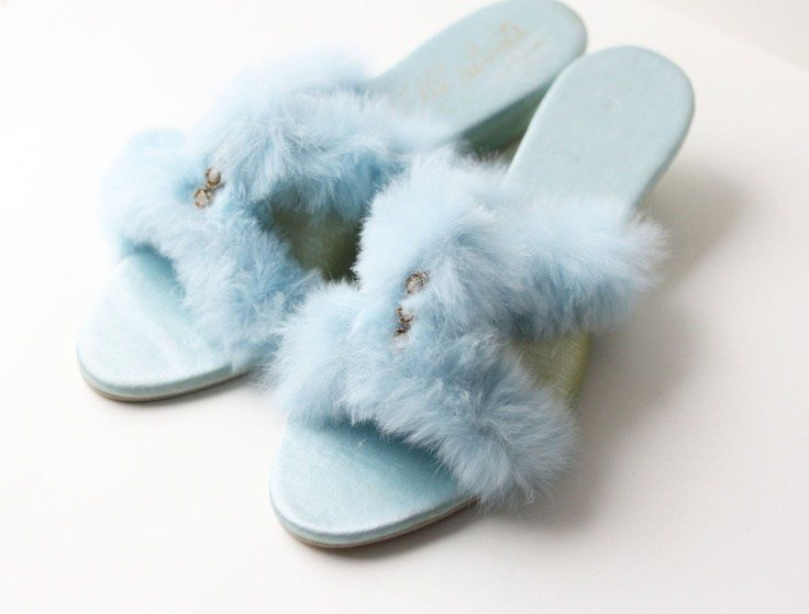 Best Vintage Slippers Bedroom Shoes Fuzzy Powder Blue 1960S Size 6 5 30 00 Via Etsy With Pictures
