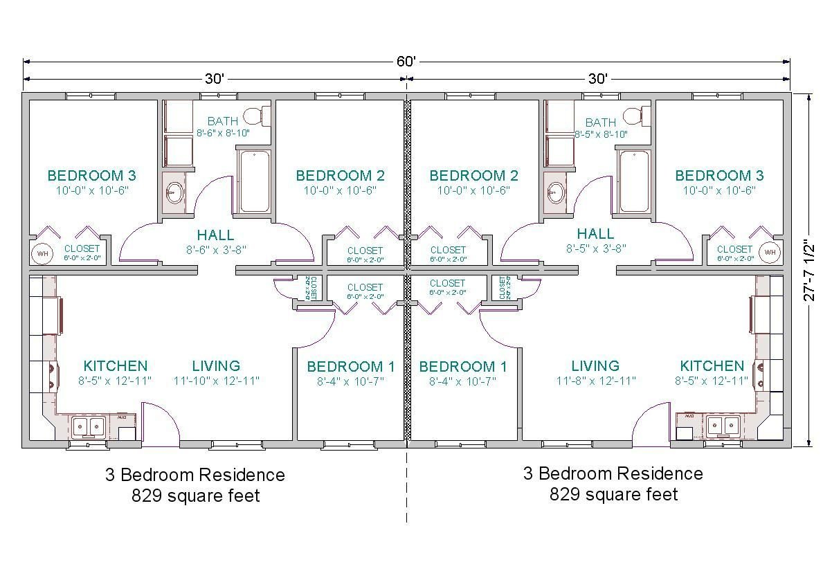 Best Basic For Duplex Guest House 6 Bedrooms Total Duplex 28X60 3 Bdrm 1 Bath Floor Plan Jpg 1202 With Pictures