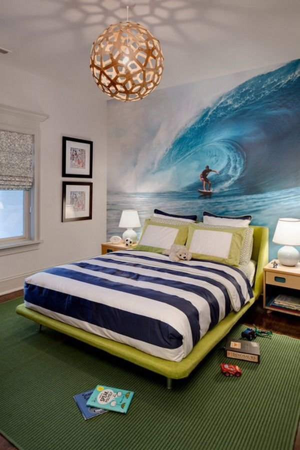 Best Ecletic T**N Bedroom Design With Ocean Sky Wall Mural With Pictures